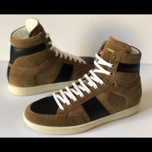 SAINT LAURENT MENS OTTER PROOF WOLLY HIGH-TOP TAN